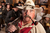 Wide Eyed Trapper in Saloon — Stock Photo