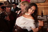 Pretty American Indian Woman in Bar — Stock Photo