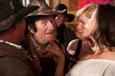 Women Flirt With Cowboy — Stock Photo