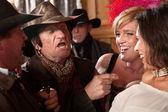 Cowboys Joking With Pretty Women — Stock Photo