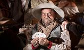 Holding Up Winning Poker Player — Stock fotografie