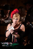 Showgirl With Hand of Cards — Stock Photo