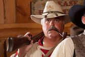 Old west trapper with pipe — Stock Photo