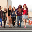 Young Teen Punks Crossing Street — Stock Photo