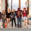 Happy group of young punks walking together — Stock Photo