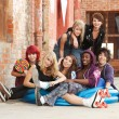 Young punk teens posing for a group shot — Stock Photo