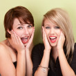 Two attractive teen girls screaming — Stock Photo #40923375