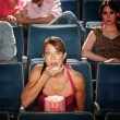 Shocked Woman Eats Popcorn — Stock Photo