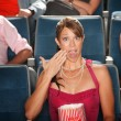 Shocked Woman with Popcorn — Stock Photo