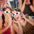 Excited Women Watch 3d Movie — Stock Photo
