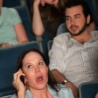 Talking Loudly In A Theater — Stock Photo