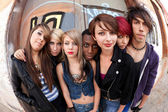 Group of Punks Fisheye — Stock Photo