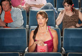 Horrified People At Theater — Stock Photo