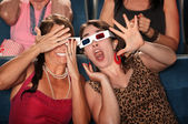 Startled Women in Theater — Stock Photo