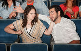 Woman Hits Man in Theater — Stock Photo