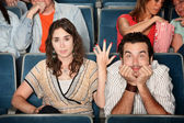 Funny Couple in Theater — Stock Photo