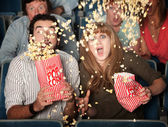 Scared Couple Spill Popcorn — Stock Photo