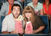 Couple Spills Their Popcorn — Stock Photo