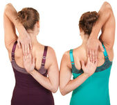 Ladies Stretch From Rear View — Stock Photo