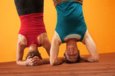 Fit Women Doing Headstands — Stock Photo