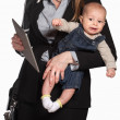 Exhausted Working Mother with Baby — Stock Photo #40944087