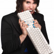 Angry Woman Bites Keyboard — Foto Stock