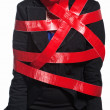 Woman in Red Tape — Stock Photo