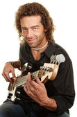 Guitar Player Over White — Stock Photo