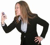 Furious Woman Holding Telephone — Photo