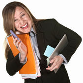 улыбается женщина многозадачность — Стоковое фото