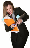 Woman Fumbling with Papers — Stockfoto