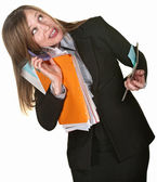 Multi-tasking Business Lady — Stock Photo