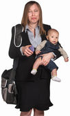 Sad Professional Woman With Baby — Stockfoto
