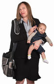Weeping Businesswoman with Baby — Stockfoto