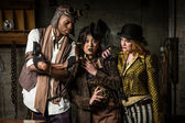Steampunk Trio with Phone — Stock Photo
