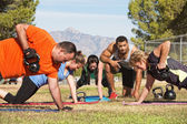 Exercise Group Using Kettle Bells — Stok fotoğraf