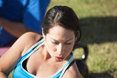 Close Up of Woman Exercising — Photo