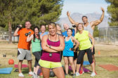 Grupo feliz boot camp fitness — Foto de Stock