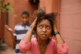 African-American single-parent family — Stock Photo