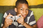 African-american male playing video games — Foto de Stock