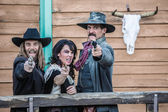 Old West Trio Yells — Stock Photo