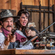 Weapons Drawn in Saloon — Stock Photo