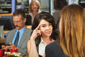 Skeptical Female in Cafe — Stock Photo