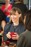 Cheerful Woman in Cafe — Stock Photo