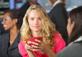 Woman with Red Mug — Stock Photo