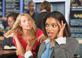Irritated Woman in Cafe — Stock Photo