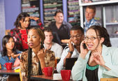Rude Woman on Phone in Cafe — Stock Photo