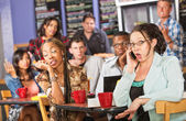 Talkative Woman in Cafe — Stock Photo