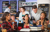Man Annoying Students in Cafe — Stock Photo