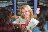 Woman Giving Coffee — Stock Photo